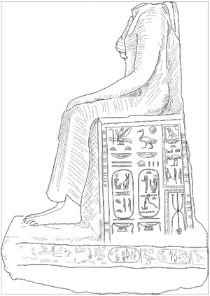 """Left-side view of the Statue of Tausret from Medinet Nasr. Drawing by Scott Murphy after pl.VI in H. S. K. Bakry, """"The Discovery of a Statue of Queen Twosre (1202–1194? B.C.) at Medinet Nasr, Cairo."""""""