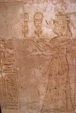 Tausret playing the sistrum, Amada Temple Nubia (copyright John D Croft)
