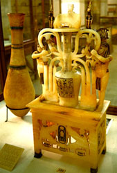 Alabaster perfum jar from the tomb of Tutankhamun (copyright Frank Rytell)