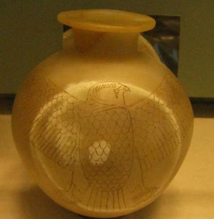 Vase with Horus falcom and featuring Unas name on the reverse side